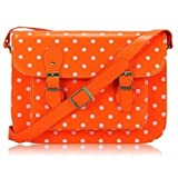 Womens Orange Spotty Satchel Shoulder Handbag