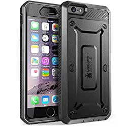 SUPCASE [Heavy Duty Belt Clip Holster] Apple iPhone 6 Case 4.7 inch [Unicorn Beetle PRO Series] Full-body Rugged Hybrid Protective Cover with Built-in Screen Protector (Black/Black), Dual Layer Design + Impact Resistant Bumper