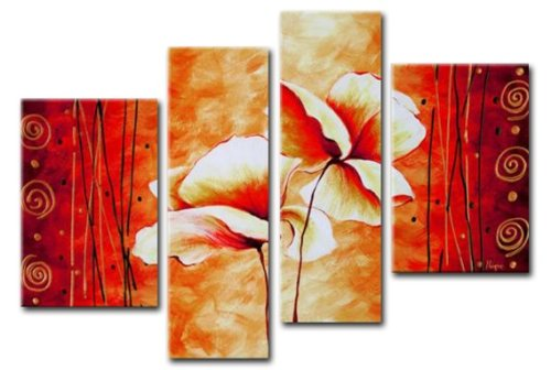 Sangu Wood Framed Blushing Flowers Home Decoration Modern Oil Painting Gift On Canvas 4-Piece Art Wall Decor