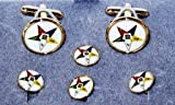 Masonic Order of Eastern Star Cuff Links & Shirt Studs White