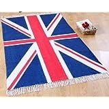 Homescapes Union Jack Vorleger, Teppich 70 x 120 cm, 100 % Baumwolle, Druck Britische Flagge, handgearbeitet.