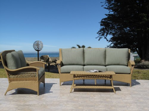 Havana Natural Outdoor Patio Resin Wicker Sofa Loveseat 3 Piece Set with Sunbrella Fabric