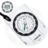 AOR POWER(TM) Baseplate Compass Pocket Style Compass for Camping Hiking Survival Compass - Great Beginner Compass