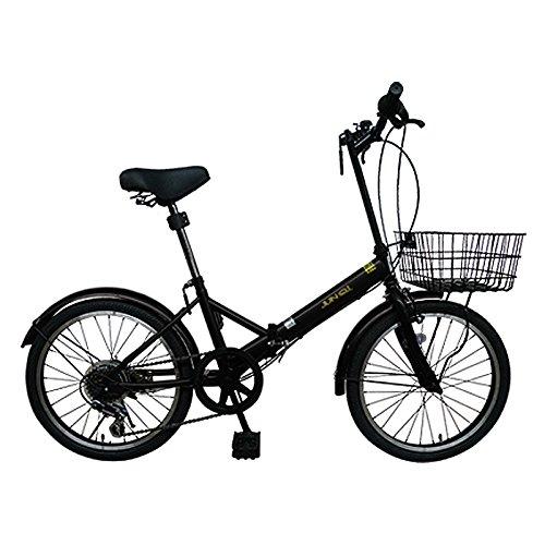 20インチ折りたたみ自転車AJ-20K(BLACK) 便利なカゴ付き AJ-20K 【カゴ付き】