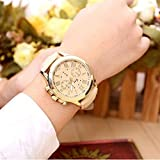 Coromose Luxury Style Womens Geneva Roman Numerals Faux Leather Analog Quartz Wrist Watch