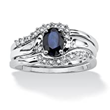 buy Blue Sapphire And Diamond Accent Platinum Over .925 Sterling Silver 2-Piece Bridal Ring Set