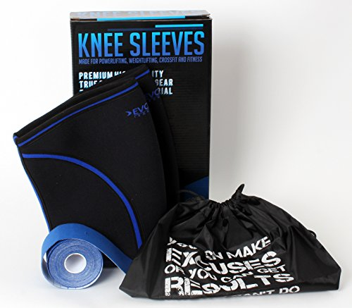 ca27cae184 Premium Knee Sleeve Pair BUNDLE by Evolve Iron Gear - FREE Gym Bag and  Kinesiology Tape