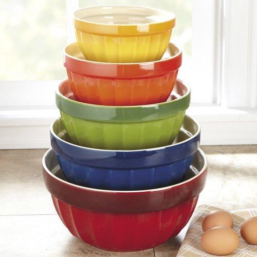 Investment Chefs 5-Piece Stoneware Mixing Bowl Set - Multicolor dispense