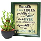 Thank U Mom - Super Mom Wooden Wall Hanging 1, 3 Layer Lucky Bamboo Tree 1, Black Tea Mug 1, Bamboo Tree For Mother, Home Décor Gift And Poster, Send Mothers Day Combo, Mothers Day Combo Online, Mothers Day Gift Online