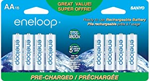 eneloop AA 1800 cycle,  Ni-MH Pre-Charged Rechargeable Batteries, 16 Pack