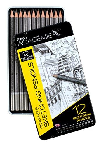 Mead Academie Graphite Sketching Pencils, 12 Per Tin (98020)