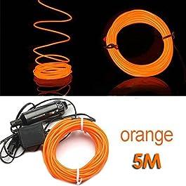 TOOGOO (R) 5M flessibile di EL Wire Neon del partito della luce dell'automobile LED del tubo della fune + 12V Inverter - Arancione