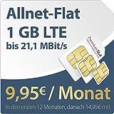 PremiumSIM LTE S [SIM, Micro-SIM und Nano-SIM] 24 Monate Vertragslaufzeit (1 GB LTE Daten-Flat mit max. 21,1 MBit/s, Telefonie-Flat, 9ct pro SMS, 9,95 Euro/Monat in den ersten 12 Monaten, danach 14,95 / Monat) O2-Netz