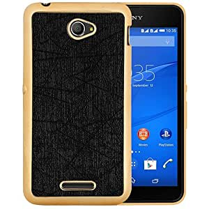 Casotec Electroplated Edge Chrome TPU Leather Back Case Cover for Sony Xperia E4 - Black