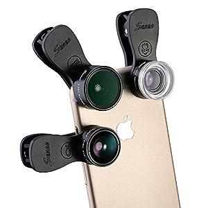 Seneo レンズ3点セット(180°魚眼 0.36X広角 20Xマクロ) カメラレンズ iPhone, Sony Xperia, iPad Airなどのスマホ/タブレットPCに対応 収納ケース付き(改良版)
