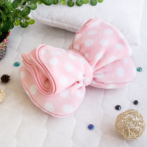 [Pink Bow] Fleece Throw Blanket Pillow Cushion / Travel Pillow Blanket (29.5 by 35.4 inches)