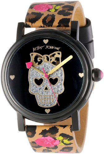 Betsey Johnson Women's BJ00181-16 Analog Rose and Leopard Strap Watch