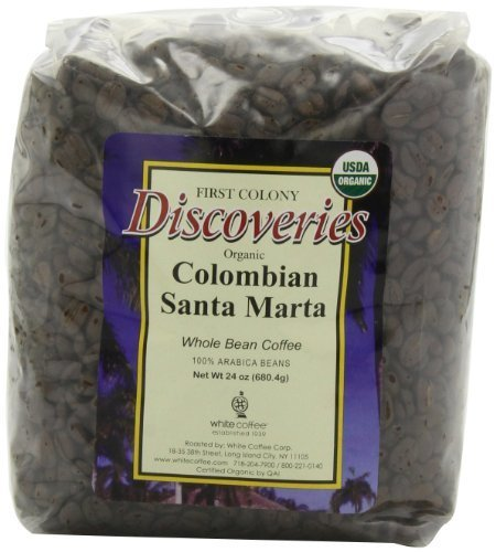 First Colony Organic Whole Bean Coffee, Colombian Santa Marta, 24-Ounce by White Coffee Corporation [Foods]