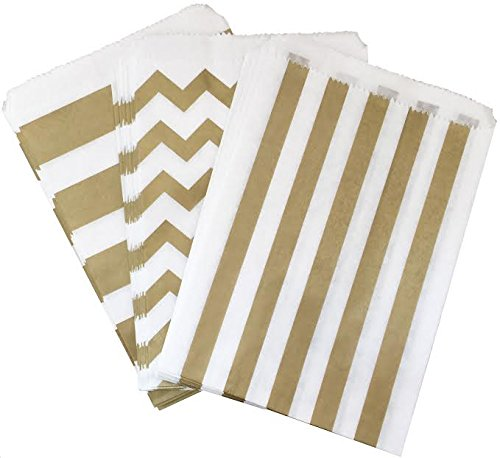 Outside the Box Papers Gold and White Chevron and Stripe Treat Sacks 5.5 x 7.5 48 Pack Gold, White (Popcorn Bag Flat compare prices)