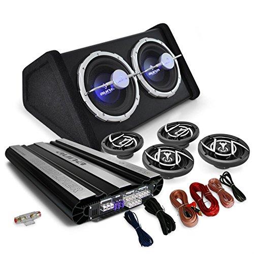 """Auna Set """"Black Line 620"""" Impianto audio auto car sistema completo Hi Fi (10000 Watt, amplificatore, 4 altoparlanti, doppio subwoofer, cavi per collegamento)"""