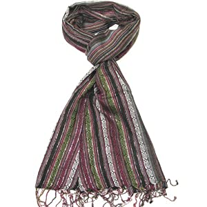 Clothing & Accessories Women's Scarf - Beautiful Striped Pashmina Scarves for ladies - Shawl and Wrap - Black Green and Pink fashion scarf