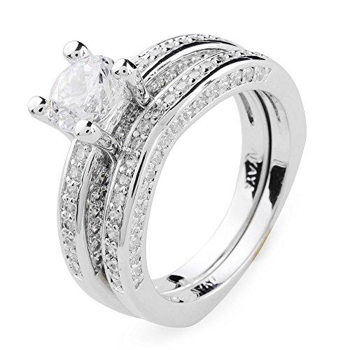 Aiyaya® Jewelry 1.5 Carat Round Cut Cz Solitiare Set Crystal Ring 2 Pieces Engagement Sz7