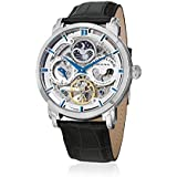 Stuhrling 371.01 Automatic Skeleton Dual Time AM/PM Indicator Leather Mens Watch