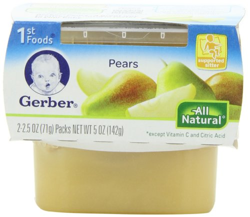 Gerber 1st Foods Pears, 2-Count, 2.5-Ounce Tubs (Pack of 8)
