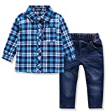 Image of Ferenyi US Kids Clothing Boys Casual Short Sleeved Plaid Shirt and Denim Jeans Sets (2-3 years, wathet)