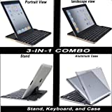 BESTEK® 3 in 1 Combo Bluetooth Wireless Keyboard Rechargeable with Built-in Lithium Battery for Apple iPad & iPhone Series, iMac/Mac Book, Samsung, and Blackberry Phones and Tablets (White)