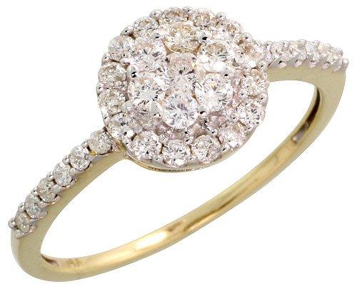 cheap 14k gold fancy ladies 39 cluster diamond ring w 0. Black Bedroom Furniture Sets. Home Design Ideas