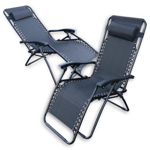 2 Reclining Black Sun Lounger w/ Armrest & Headrest Relaxing Powder Coated
