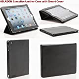 i-BLASON Premium Leather Portfolio Black Smart Case Cover Stand with Auto On Off for Apple iPad 2 Wifi / 3G Model 16GB, 32GB, 64GB