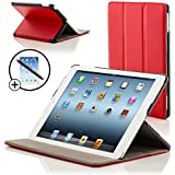 Forefront Cases Luxury Leather Case Cover/Stand with Magnetic Auto Sleep Wake Function for iPad 3/4 - Red
