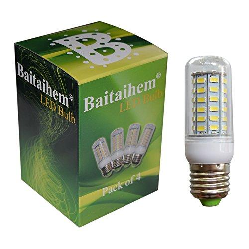 Baitaihem 4Pcs E27 56Smd 5730 Led Corn Light Lamp Bulb 800Lm Equivalent Halogen 120W 6000-6500K Cool White