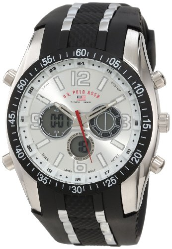 U.S. Polo Assn. Mens US9061 Black Rubber Strap Analog Watch