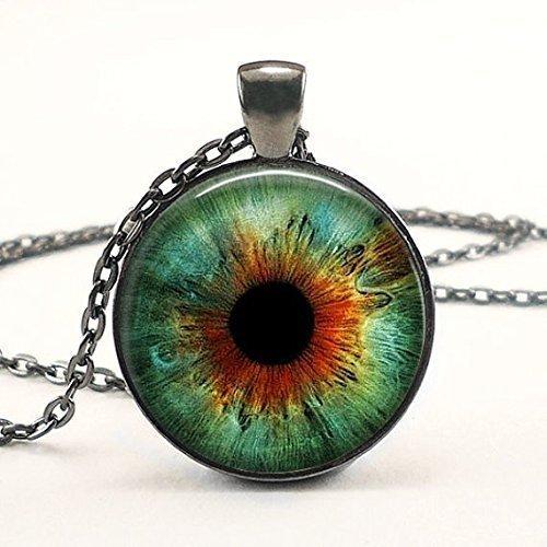 collana-occhio-blu-finitura-argento-ciondolo-bubble-vetro-cabochon-occhio-di-gatto-blu-chiaro-tassid
