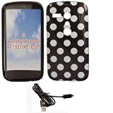 Polka Gel Case Cover Shell And USB Charging Data PC Lead For Motorola Moto G / White Polka Dots Spots Black