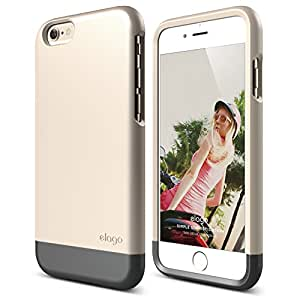 iPhone 6 Case, elago S6 Glide Case for the iPhone 6 Only (4.7inch) + Back Protection Film included - eco friendly Retail Packaging (Champagne Gold / Metallic Dark Gray)