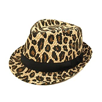 Unisex Light Brown Leopard Print Black Band Fedora Straw Hat
