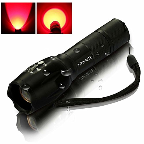 XINKAITE 5 Light Modes Cree XM-L T6 2000 Lumens Zoomable Waterproof LED Tactical Flashlight For Camping Hunting Outdoors (Red Light) (2000 Lumen Flashlight Waterproof compare prices)