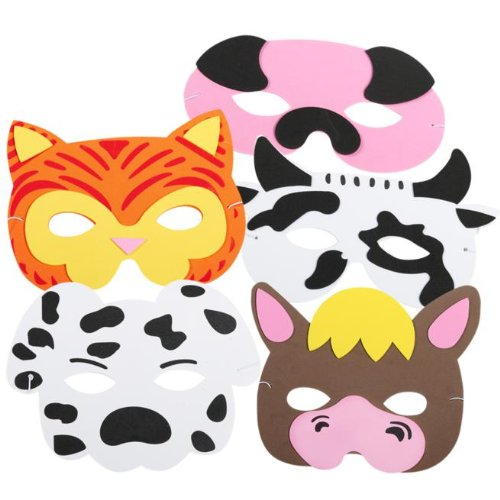 "US Toy - Farm Animal Masks, Assorted Colors, 7"" W, Pack of 12"