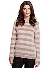 Per Una Shimmer Striped Knitted Top with Mohair