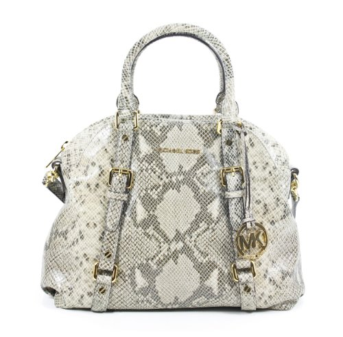 Michael Kors Bedford Angora Python Leather Large Bowling Satchel Shoulder Bag
