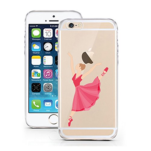 "'licaso® iPhone 6 6S 4,7 TPU cellulare Sketch Case trasparente chiara per cellulare cellulare iPhone6 Custodia Girl cover iPhone 6 6S 4,7"" Bellerina rot pink"