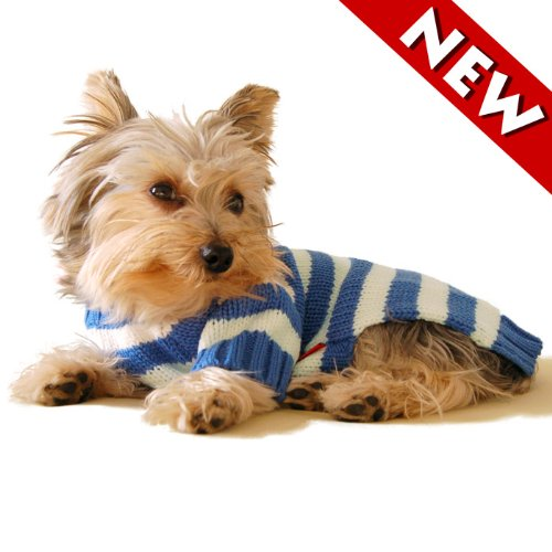 #14 Large, Designer Pet Apparel Dog Canine Clothes/clothing Puppy Hoodie/hooded Sweater, Blue Stripe, Casual & Stylish