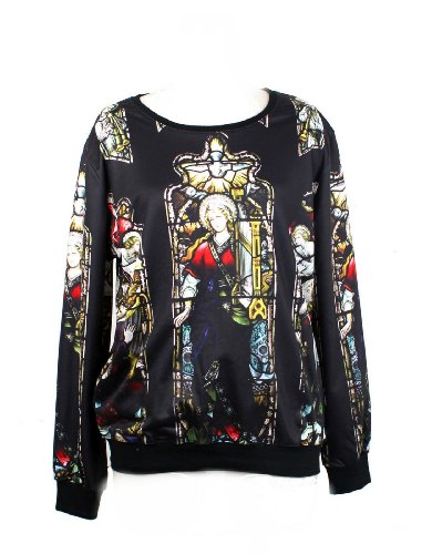 Pandolah Neon Cosmic Colorful Patterns Print Sweatshirt Sweaters (Free size, Black)