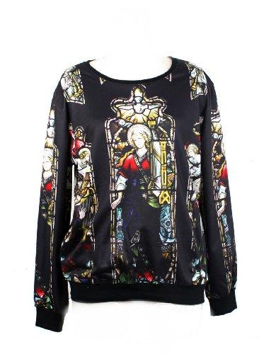 Pandolah Neon Cosmic Colorful Patterns Print Sweatshirt Sweaters (Free size, Black)