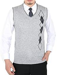 Wantdo Men\'s Business Sweater Vest US X-Small Light Grey