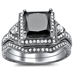 2.0ct Princess Cut Black Diamond Engagement Ring Bridal Set 14k White Gold